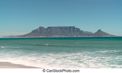cape town, table mountain - view across the bay to table...