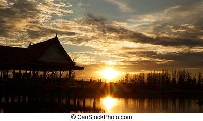 timelapse sunset in watlam temple - timelapse sunset full HD...