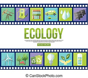 Film strips and set of colorful modern ecology icons with long shadow for infographics, presentation templates. Flat style design.