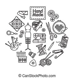 Handmade and sewing outline icons set.