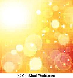 Yellow summer sun light burst.