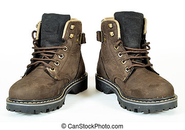 Hiking boots - Hiking shoes and a white background