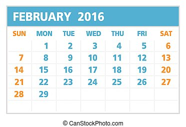 Calendar of 2016, Febuary, on White Background starts from...