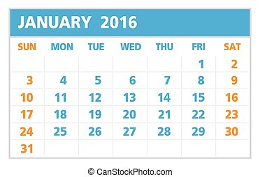Calendar of 2016, January, on White Background starts from...