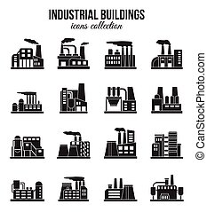 Set of industrial manufactory buildings icons set. Plant and factory, power. smoke, oil.  energy, nuclear manufacturing station.