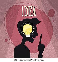 Man Side Head Silhouette Idea LIght Bulb Inside Black Flat...