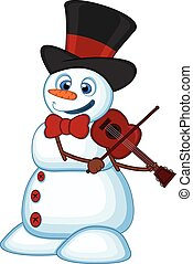 Snowman with hat play violin