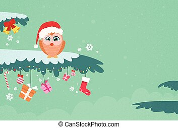 Christmas Owl Sitting on Tree Branch Winter