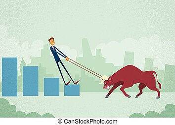 Businessman Inverstor Shares Market Trader Hold Bull Push Up...