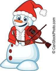 Snowman with santa claus costume