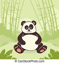 Cartoon Panda Bear Sitting Green Bamboo Jungle Forest...
