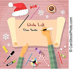 Merry Christmas Wish List To Santa Clause Child Hand Writing Pen on Paper Desk