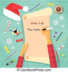 Merry Christmas Wish List To Santa Clause Child Hand Writing...