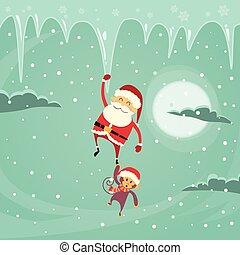 Santa Clause Christmas Monkey Cartoon Character Hang on...