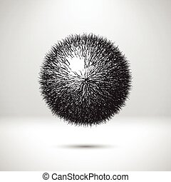 Abstract ball with curvy needles or hair