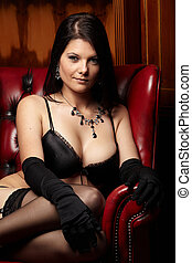 Woman in Lingerie - Sexy young adult caucasian woman in...
