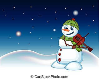 Snowman with hat, green sweater