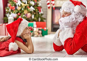 peu,  Claus,  girl,  Santa