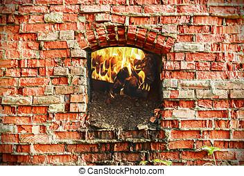 firebox, con, madera, abrasador, ladrillo, horno,