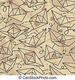 Vector pattern with paper ships