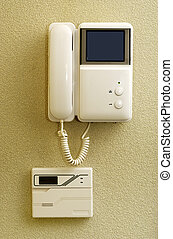 Intercom On The Wall - Security set with intercom over new...
