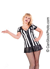 Sexy Soccer Referee with outstretched arm