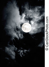 Dark cloudy sky with full moon