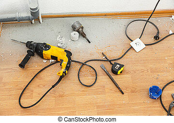 Place of socket repair process with drill - Place of...