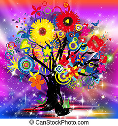 Happy Tree of Life - An abstract illustration of a happy...