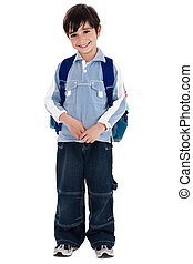young boy standing in white isolated background