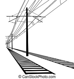 19.eps - Railroad overhead lines. Contact wire. Vector...