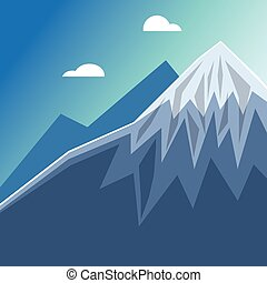 Mountain peak with snow illustration design