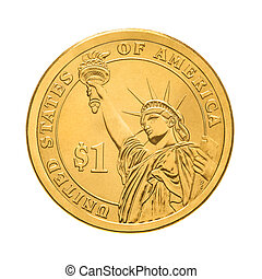 One dollar coin - Statue of Liberty Isolated on white...