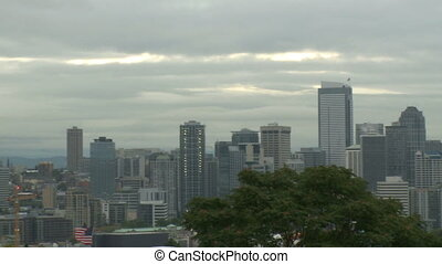 Cloudy Seattle morning - pan 1 of 4