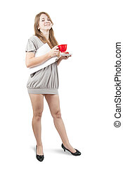 girl in grey dress with a red cup  over white