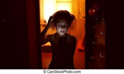 girl teen looking smartphone game on Internet indoor in...