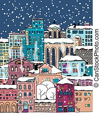 Doodle town - Hand drawn houses and buildings. Winter town...