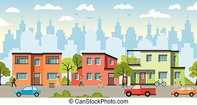 City landscape with modern houses