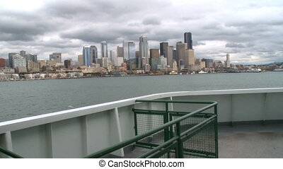 Ferry cruises toward Seattle