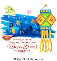Happy Diwali background kandil - illustration of Happy...