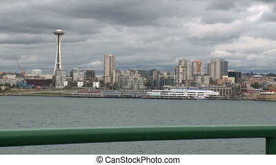 View of Space Needle from ferry