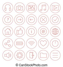 Line Circle Website and Mobile User Interface Icons Set....