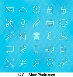 Website and Mobile User Interface Line Icons Set over...