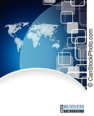 Modern business brochure with scribbled world map