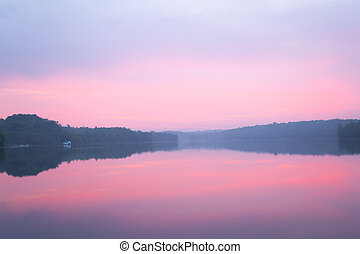 Pink sunset - Sunrise from a lake in Ontario