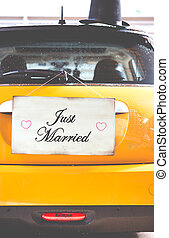 Poster Just Married - Just Married poster hanging on a...