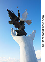 Peace Monument - Peace monument against a blue sky on the...