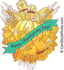 Thanksgiving Day greeting card with handdrawn spikes, feathers, chestnuts, vegetables and fruits  in cartoon style