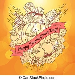 Thanksgiving Day greeting card with handdrawn spikes, feathers, chestnuts, vegetables and fruits  in cartoon style on the bokeh background