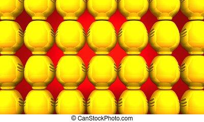 Spinning Daruma Dolls - Spinning Yellow Daruma Dolls On Red...